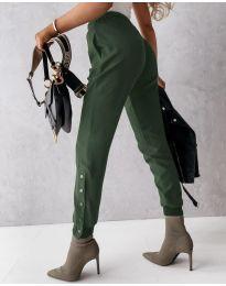 Модерен дамски панталон в масленозелено - код 3987