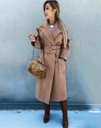 Стилно дамско палто в цвят капучино - код 3784