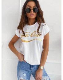 Бяла дамска тениска със златист принт - код 3659