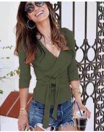 Дамска блуза в маслено зелено - код 9291