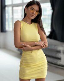 Дамска рокля по тялото в жълто - код 11795