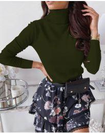 Дамска блуза с поло яка в маслено зелено - код 8861
