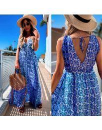 Дълга рокля с атрактивен десен в синьо - код 675