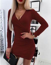 Изчистена рокля в бордо - код 5513