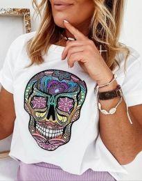 Дамска тениска в бяло с апликация - код 4322