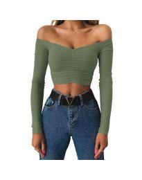 Къса дамска блуза в маслено зелено - код 4120