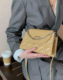 Ефектна чанта в цвят горчица - код B322