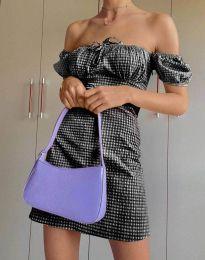 Карирана дамска рокля в черно - код 2594