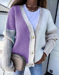 Атрактивна свободна плетена дамска жилетка с копчета в лилаво и бежово - код 9251 - 6