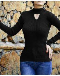 Дамска блуза с поло яка в черно - код 5191