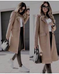 Дълго дамско палто в цвят капучино - код 3435