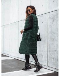Дамски дълъг елек в зелено - код 9153