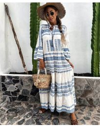 Дълга рокля с атрактивен десен в бяло и светло синьо - код 3355-3