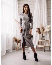 Дълга рокля с цепка в сиво - код 9010