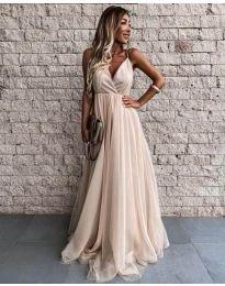 Дълга дамска рокля в бежово - код 5244