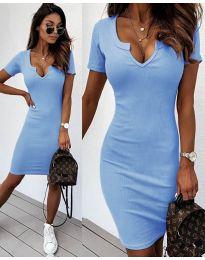 Изчистена рокля в светло синьо - код 8829