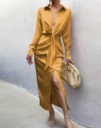 Елегантна рокля в цвят горчица - код 6459