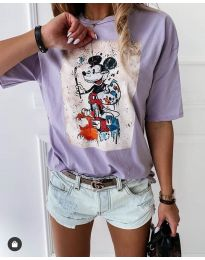 Дамска тениска в светло лилаво с ефектен принт - код 569