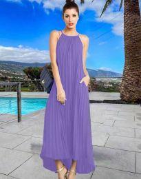 Дълга лятна рокля в лилаво - код 6999