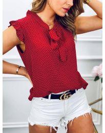 Елегантна блуза с къс ръкав в червено - код 300