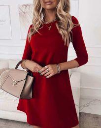 Свободна дамска рокля в червено - код 8201