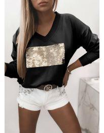 Атрактивна черна блуза с пайети - код 4150