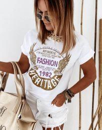 Атрактивна тениска с принт в бяло - код 4658