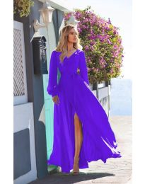 Дълга рокля с цепка в лилаво - код 8477