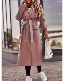 Дамско палто с колан в цвят пудра - код 7989