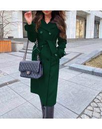 Дамско палто с колан в зелено - код 213