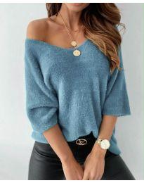 Дамска блуза в цвят тюркоаз - код 901
