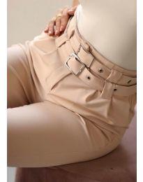Стилен дамски панталон по крака в бежово - код 317