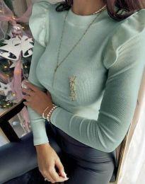 Изчистена дамска блуза в цвят мента - код 0142