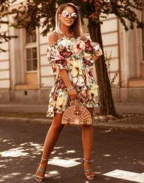 Ефирна дамска рокля в жълт флорален десен - код 1402 - 2