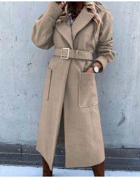 Дълго дамско палто с колан в цвят капучино - код 423