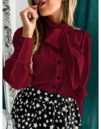 Стилна дамска риза в бордо - код 971