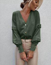 Стилна дамска риза в масленозелено - код 7492