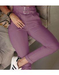 Стилен дамски панталон по крака в лилаво - код 317