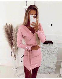 Дамска рокля в розово - код 2077