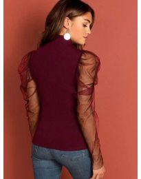 Блуза в бордо по тялото с бухнали тюлени ръкави - код 3562