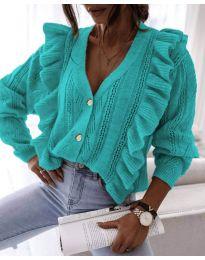 Къса дамска жилетка в цвят тюркоаз - код 0305