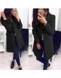 Стилно дамско палто в черен цвят - код 943