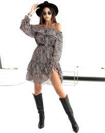 Дамска рокля с ефектен десен с колан - код 5179 - 4