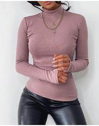 Дамска блуза с поло яка в цвят пудра - код 4207