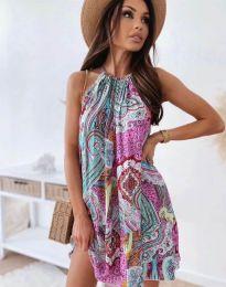 Свободна дамска рокля с флорален десен - код 3859 - 2