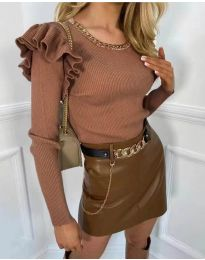Атрактивна дамска блуза в кафяво - код 8865