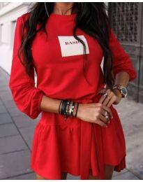 Къса дамска рокля в червено - код 0789
