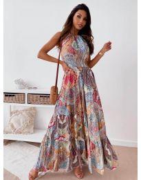 Дълга дамска рокля с атрактивен десен - код 2675 - 1