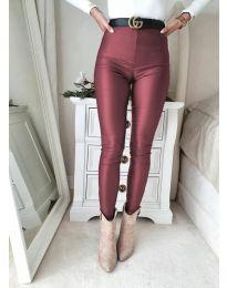 Втален дамски панталон в цвят бордо - код 2789