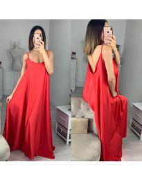 Свободна дълга рокля в червено - код 6600